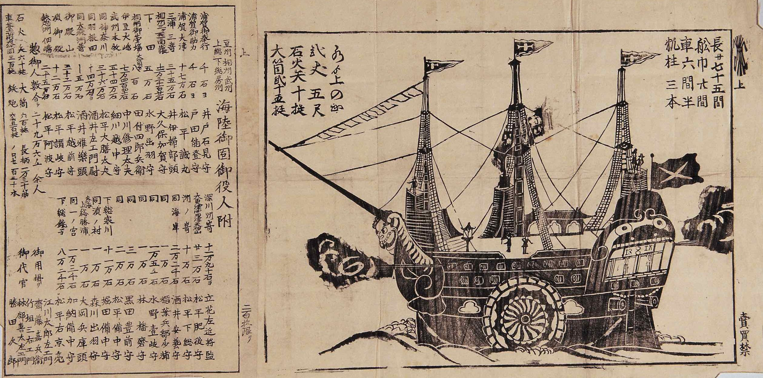 Another illustration, in black ink, of a foreign ship arriving in Edo Bay.