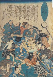 Illustration showing teahouse operators, geisha, and other workers who suffered loss of income crowd around a measles victim to take their anger out, while doctors and medicine sellers offer some protection from the mob.