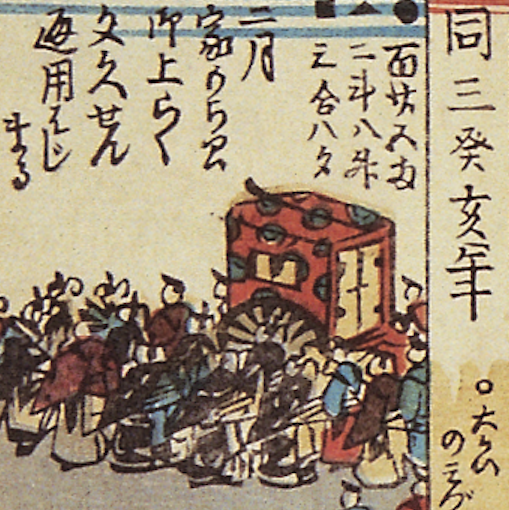 A detail of Figure 1 depicting people crowding around a carriage carrying Shogun Iemochi.