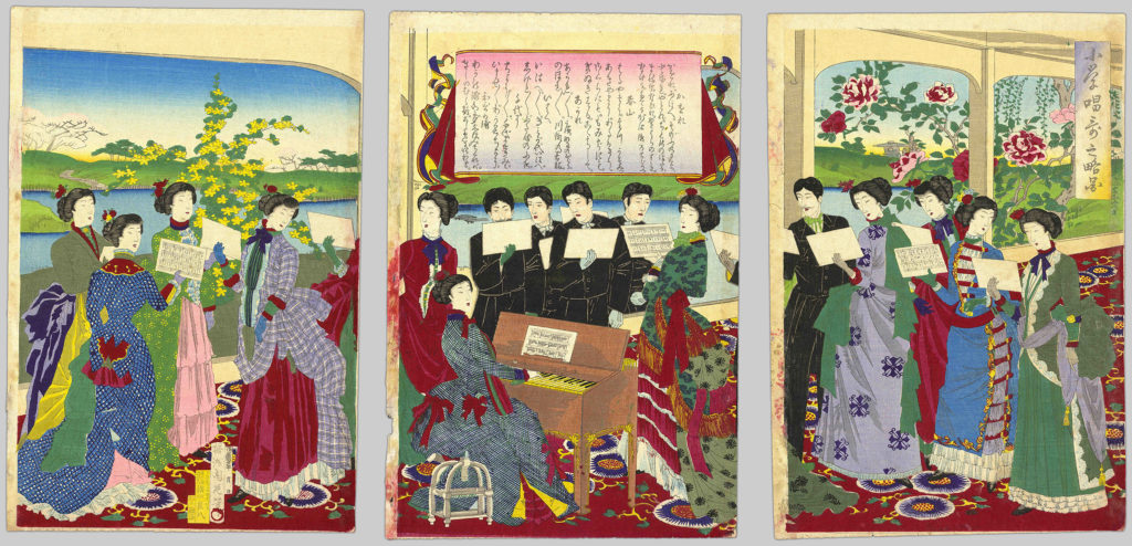 In this printed triptych illustration, a chorus of ten ladies and five men accompanied by an elegant pianist perform songs from an elementary school songbook.