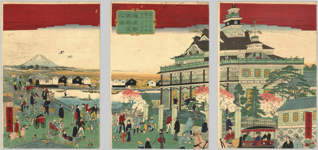 """A triptych called Kaiunbashi Kawaseza no zu, in which villagers crowd to get a look at a new """"Westernized"""" building."""