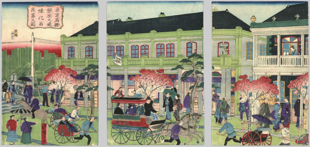 An illustration depicting street traffic outside a Tokyo merchant's building.