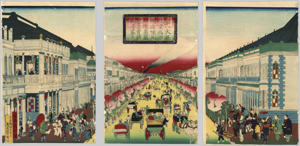 A triptych illustration depicting city activity in a commercial district.