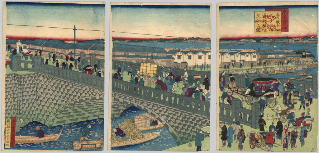 A triptych illustration depicting people of all ages crossing Asakusa Bridge.