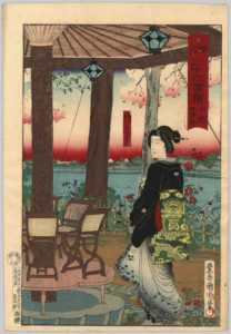 This printed illustration depicts a geisha standing inside one of the 36 most posh gourmet restaurants in Tokyo during the Meiji era.