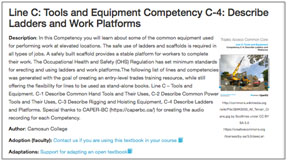 Info and landing page for the Line C: Tools and Equipment textbook