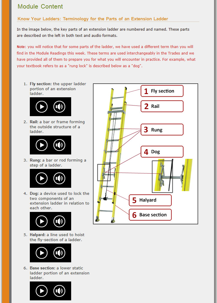 "Moira's ""Extension Ladders"" module: screenshot of first part of Content"