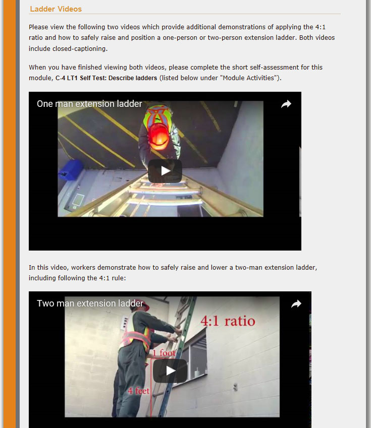 "Moira's ""Extension Ladders"" module: screenshot of third and final part of Content"