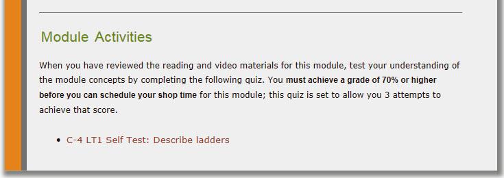 """Moira's """"Extension Ladders"""" module: screenshot of Activities"""