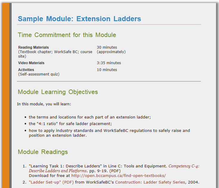 "Moira's ""Extension Ladders"" module: screenshot of Time commitment, learning objectives & readings"