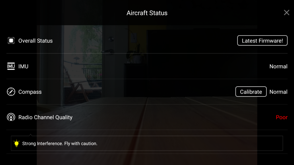 A photos of a screenshot showing the overall status screen of the DJI GO app