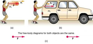 (a) A basketball player pushes the ball with the force shown by a vector F toward the right and an acceleration a-one represented by an arrow toward the right. M sub one is the mass of the ball. (b) The same basketball player is pushing a car with the same force, represented by the vector F towards the right, resulting in an acceleration shown by a vector a toward the right. The mass of the car is m sub two. The acceleration in the second case, a sub two, is represented by a shorter arrow than in the first case, a sub one.