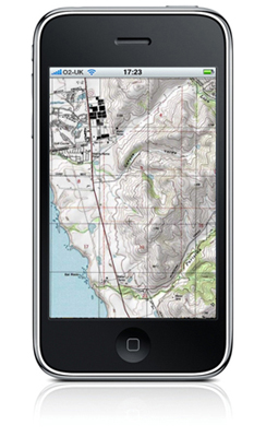 A topographical map of a location is shown on an iPhone with some information about the location using the G P S system.