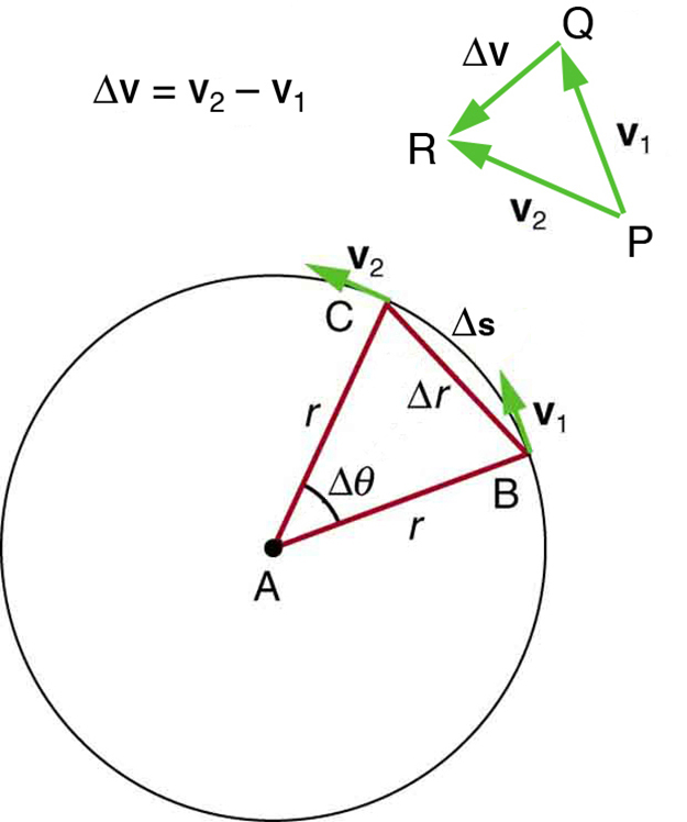 The given figure shows a circle, with a triangle having vertices A B C made from the center to the boundry. A is at the center and B and C points are at the circle path. Lines A B and A C act as radii and B C is a chord. Delta theta is shown inside the triangle, and the arc length delta s and the chord length delta r are also given. At point B, velocity of object is shown as v one and at point C, velocity of object is shown as v two. Along the circle an equation is shown as delta v equals v sub 2 minus v sub 1.