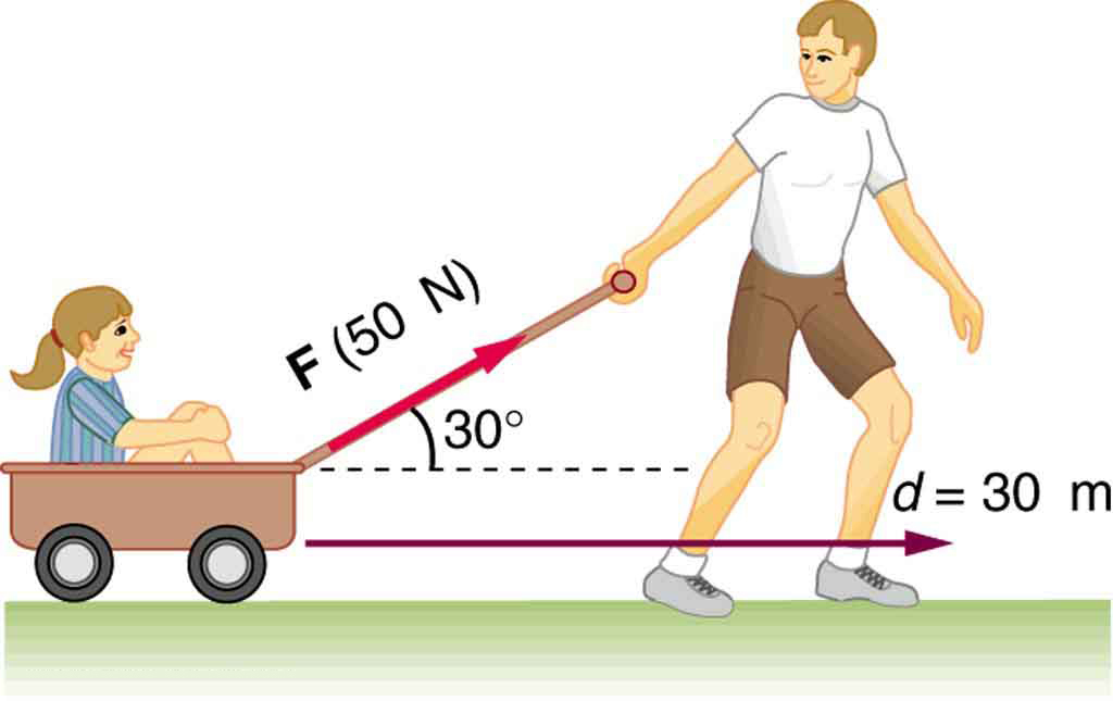 A child is sitting inside a wagon and being pulled by a boy with a force F at an angle thirty degrees upward from the horizontal. F is equal to fifty newtons, the displacement vector d is horizontal in the direction of motion. The magnitude of d is thirty meters.