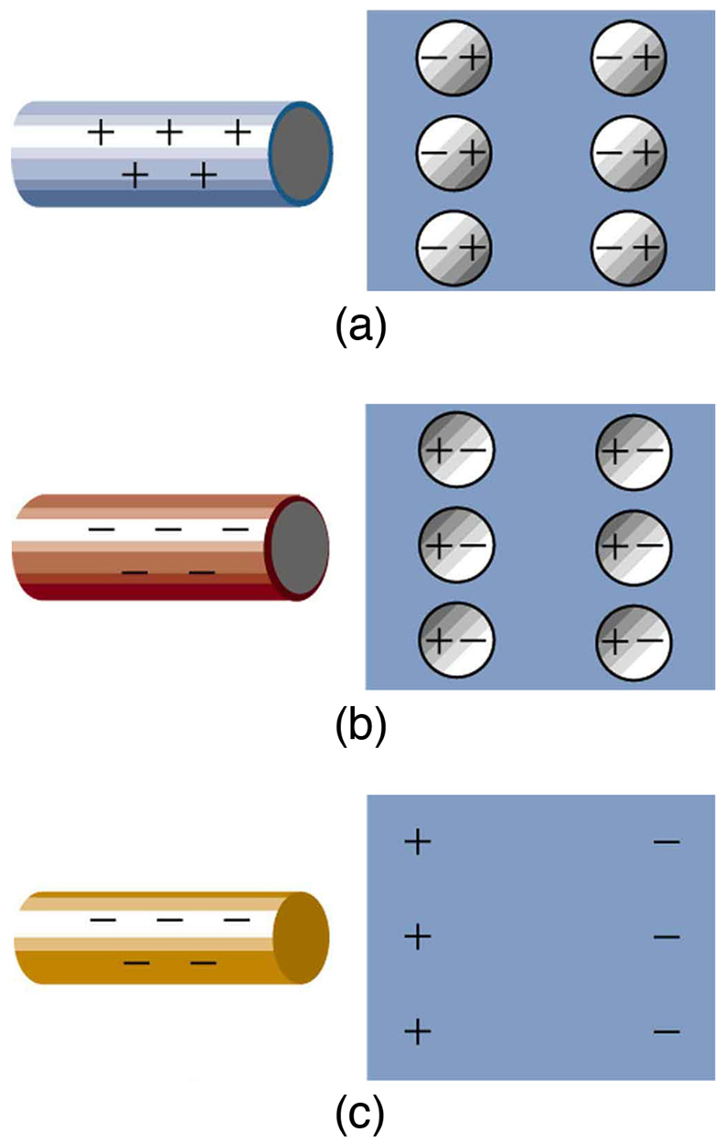 Microscopic views of objects are shown. A positive rod with positive signs is close to an insulator. The negative ends of all the molecules of the insulator are aligned toward the rod and positive ends of all molecules shown as spheres are away from the rod. In part b, a negative rod with negative signs is close to an insulator. The positive ends of all the molecules of the insulator are aligned toward the rod and negative ends of all molecules shown as spheres are away from the rod. In part c, a rod with negative signs and insulator with the surface closer to the rod has positive signs. The other surface has negative signs.
