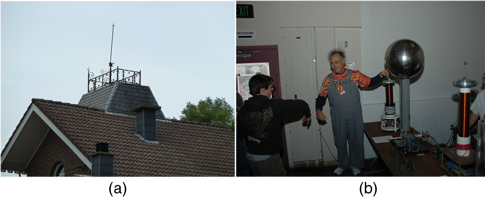 In part a, a lightning rod is shown on the roof of a house. In part b, a person is touching the metal sphere of the Van De Graaff and his hair is standing up.