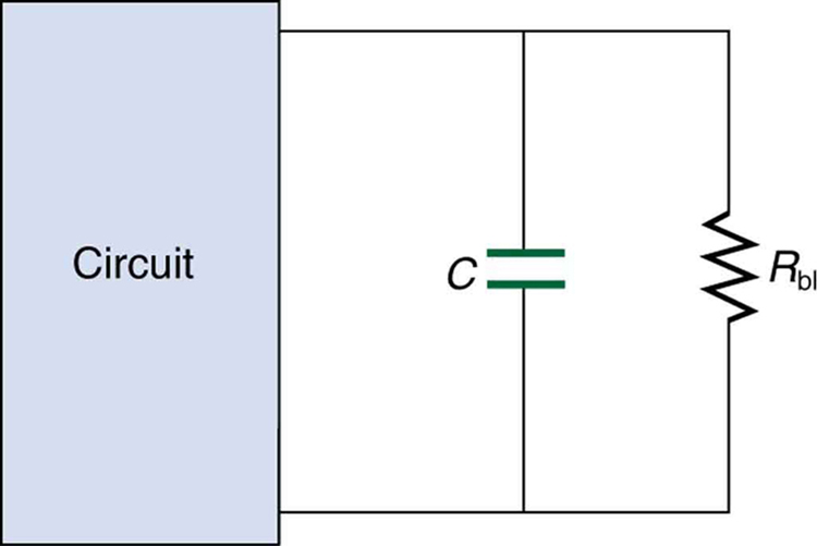 An electrical circuit with a capacitor has an extra resistor R sub b l, called a bleeder, installed in parallel with the capacitor.