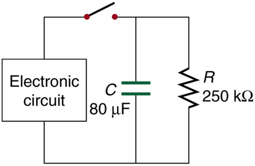 A parallel circuit with a switch, an embedded electronic circuit, a capacitor, and a resistor is shown. The embedded circuit, capacitor, and resistor are connected in parallel with each other: the electronic circuit on the left, the capacitor in the middle, and the resistor on the right. The capacitor has a capacitance of eighty micro farads. The resistor has a resistance of two hundred fifty kilohms. The switch is on the top, between the electronic circuit and the capacitor leg.