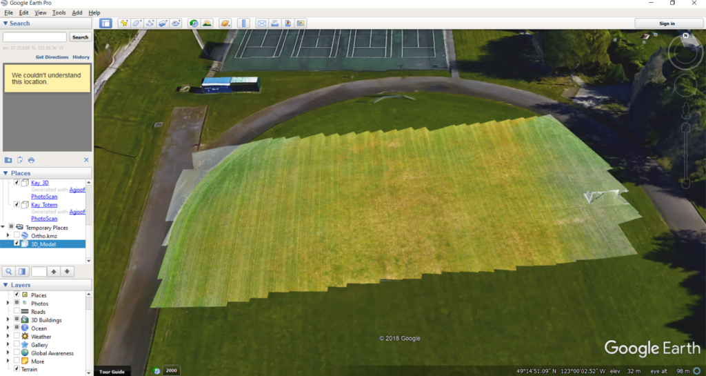 Screenshot of a 3-D Model exported from Photoscan in KMZ and added to Google Earth