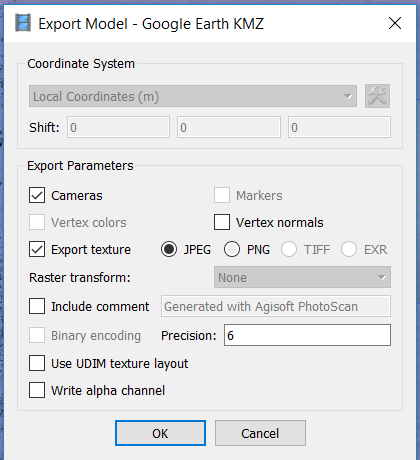 Screenshot of the export model dialogue box with the following settings, cameras, export texture and JPG file format all checked on and precision left at the default 6