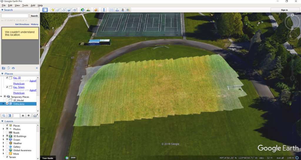 Screenshot showing the orthomosaic generated in photoscan, exported into Google Earth