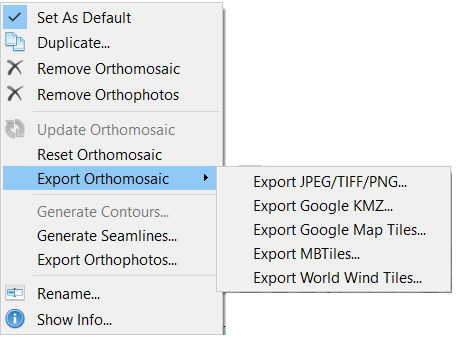 Screenshot showing the following orthomosaic export file formats, JPEG/TIFF/PNG, Google KMZ, Google Map Tiles, MBTiles, World Wind Tiles