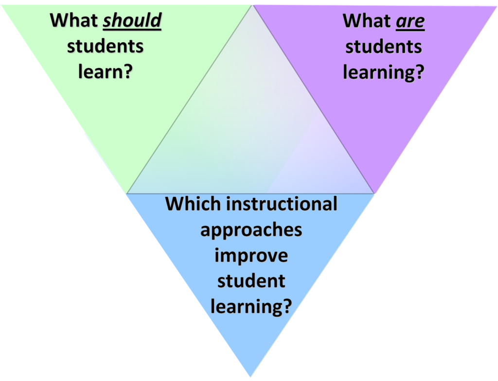 Triangle showing the three aspects to the SEI approach to course transformation.