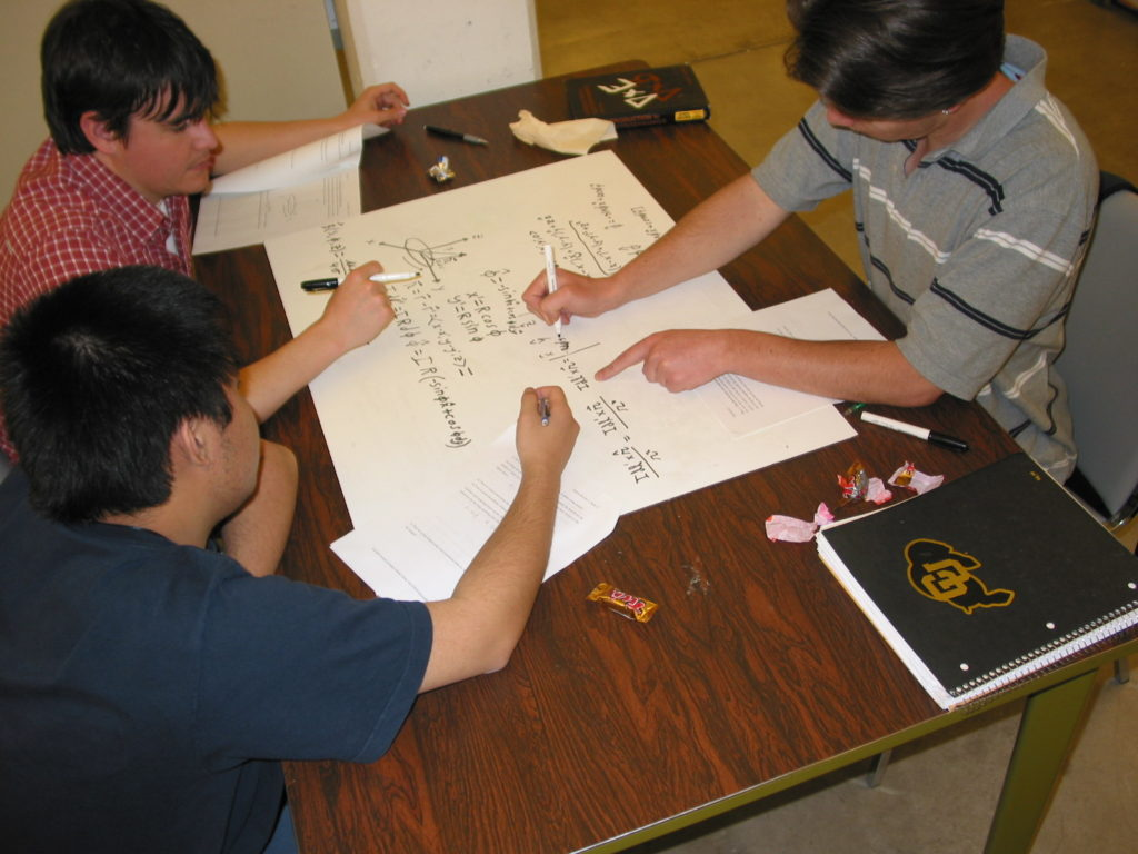 Students work on a physics tutorial.