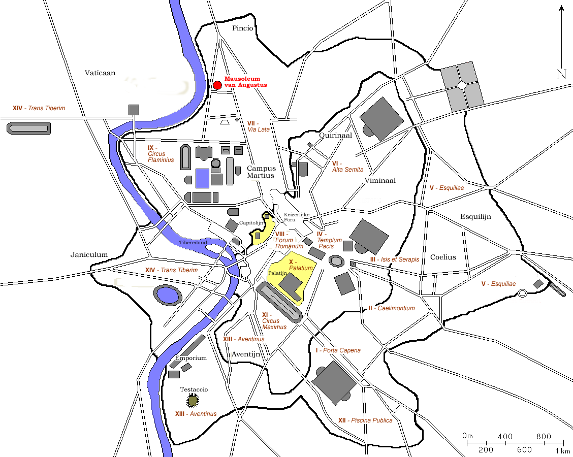 Map of ancient Rome around 320 AD