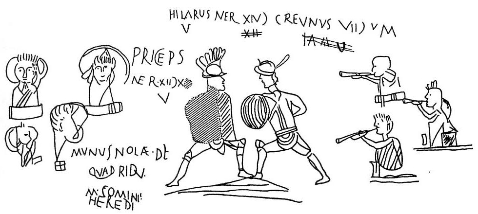 A line-drawn image depicting gladiators with Latin writing