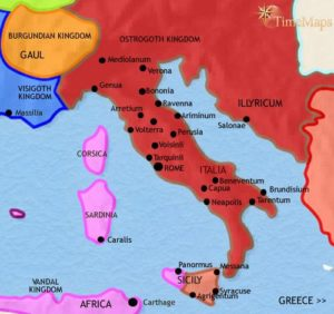 Map of Italy at 500AD (https://www.timemaps.com/history/italy-500ad/)