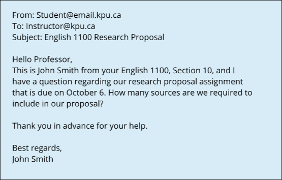 Example Email from instructor to student