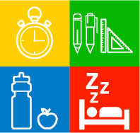 Icons:  Clock, pencil, water bottle with apple, sleeping person