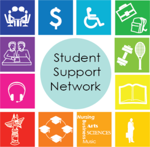 Square with 12 symbols representing student services available on campus