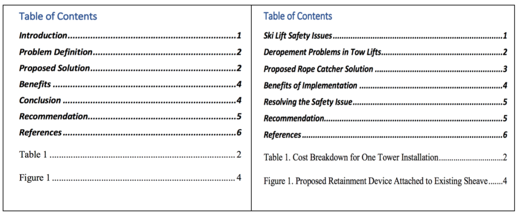 the box on the left shows a table of contents using only function based headings (Introduction, Problem Definition, Proposed Solution, Benefits, Conclusion, Recommendation, References. Table 1. Figure 1. The box on the right contains a table of contents using descriptive headings and captions: Ski Lift Safety Issues, Deropement Problems in Tow Lifts, Propsed Rope Catcher Solution, Benefits of Implementation, Resolving the Safety Issues, Recommendation, References. Table 1. Cost breakdown for one tower installation. Figure 1. Proposed Retainment Device