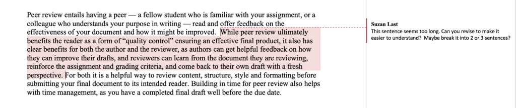 """Example of feedback that uses the """"insert comments"""" function in MS Word."""